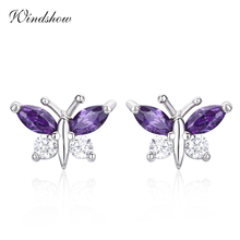 Cute 925 Sterling Silver Butterfly Purple 7 White CZ Stud Earrings For Women Children Girls Kids Jewellery Orecchini Aros Aretes(China)