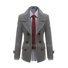 Custom made 2017 New design woolen Trench coat men fashion Slim Fit Outerwear Mens Coat Warm Winter Overcoat(China)
