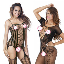 New Style Women Deep V Neck Sexy Lingerie Black Sexy Bodystocking Lace Flower Open Crotch Body suit Sexy Costumes Sexy Nightwear(China)