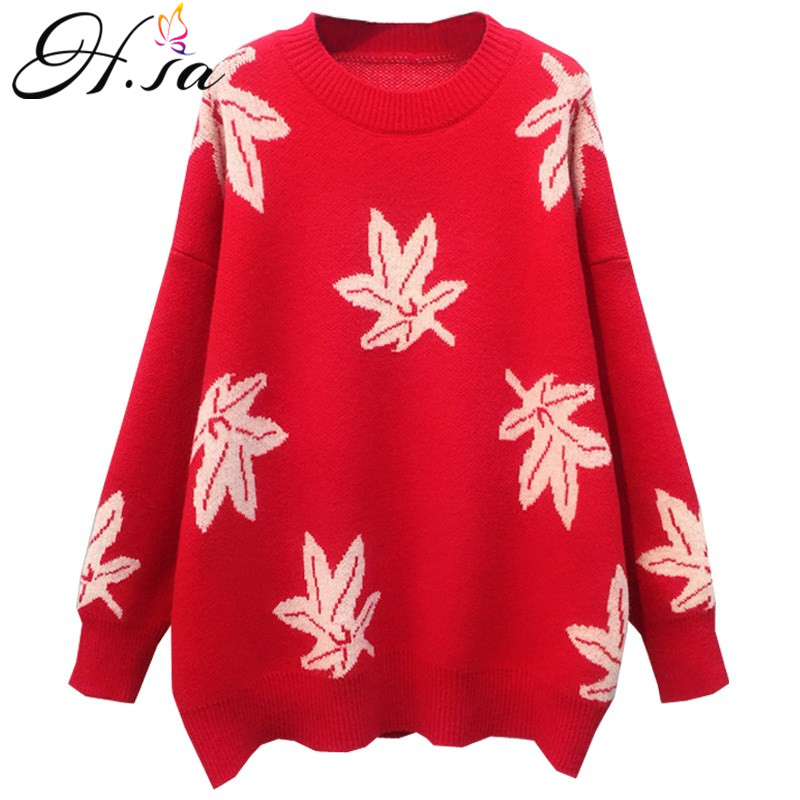 H.SA Women Oversized Maple leaf Pullover and Sweaters 2019 Spring Long Sleeve Red Pull Jumpers Fashion Girls Cashmere Sweaters