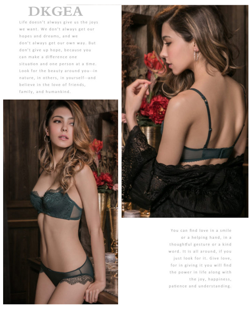 Young Girl Green Sexy Bra Set Plus Size D Cup Thin Cotton Brassiere Lace Underwear Women Sets Black Embroidery Lingerie Luxury 4