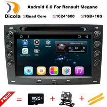 1024*600 Android 6.0 Quad Core 1GB RAM 16GB ROM Car DVD Player for Renault Megane 2 ii 2003-2008 Radio Stereo GPS Navigation