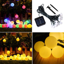 High Quality 100 LED 10m Outdoor Solar Ball LED String Lights lamps Fairy light solar Holiday Christmas Party Garlands Light(China)