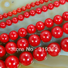 "15.5"" Red Coral Round Beads 4mm 6mm 8mm 10mm Pick Size Free Shipping-F00080(China)"