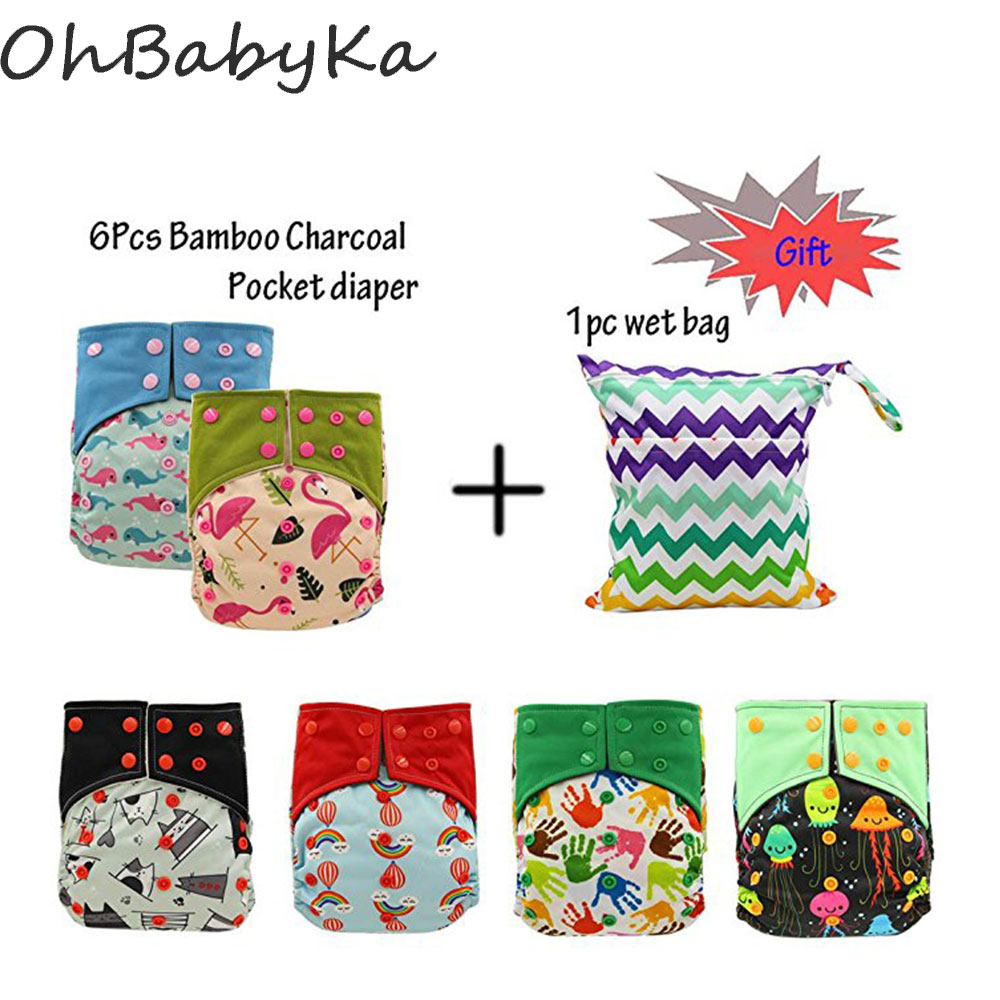 OhBabyKa Reusable Diapers Baby Cloth Nappy Bamboo Charcoal Pocket Diaper Adjustable Cloth Diaper Cover Modern Cloth Nappies 6PCS<br>