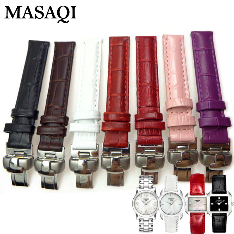 MASAQI Women Watch Band For Tissot 1853 T02 T023 T028 Genuine Leather 14MM Watch Straps High Quality Leather Watchbands<br>