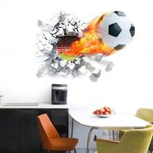 % flying firing football wall stickers kids room home decoration home decals soccer funs 3d mural art sport game pvc diy poster(China)