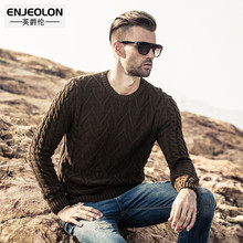 Enjeolon brand 2017 autumn pattern Knitting pullover Sweaters man ,Cotton solid o-neck male Sweater black casual Clothing M2006(China)