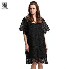 Outline Women Lace Dress Summer Loose Black Crochet Embroidered Hollow Out Short Sleeve V-neck Knee-Length Party Dress L172Y034
