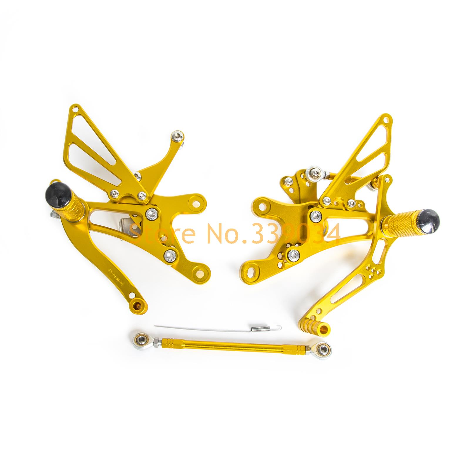 New Gold CNC Adjustable Footpegs Rearset Footrests Rear Sets For Yamaha YZF-R6 1999 2000 2001 2002<br><br>Aliexpress