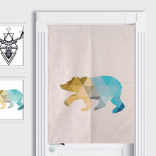 New Linen NOREN Japanese Style Door Curtain Deer Pole Bear Zebra Printed Tapestry 85x120cm/85x90cm
