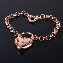2014 Korean Fashion Rose Gold CZ Charm Bangles Bracelet For Women High Quality Wholesale Free Shipping (GULICX L025.2)(China)