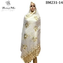 2017 New Muslim Embroidery Women Scarf with rhinestones ,Nice Beige scarf for women,big scarf for shawls wrpas,African scarf