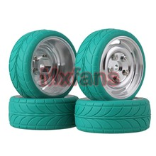 Mxfans 4x RC1:10 On Road Car Silver Alloy 4 Holes Wheel Rim & Green Arrow Pattern Tyre(China)