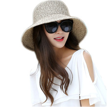 Bowknot Patchwork Summer Hats for Women Coffee Cream Blue Pink Straw Hat 2017 Ladies Holiday Beach Fashion Sun Hats Chapeau Caps