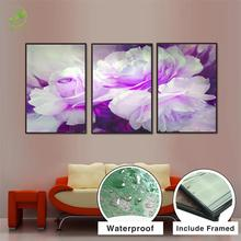 Modern 3pcs Melamine Sponge Board Canvas Oil Painting Purple&White Flowers Pictures Landscape Unframed Living Room Wall Artwork