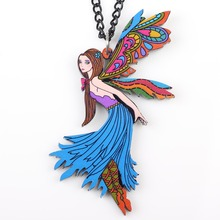 Newei dance angle necklace pendant acrylic news accessories spring summer cute design figure girls woman fashion jewelry(China)