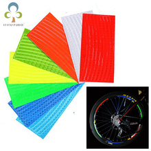 10Sheets Bicycle reflector Fluorescent MTB Bike Bicycle Sticker Cycling Wheel Rim Reflective Stickers Decaration Accessories GYH