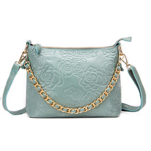 Spring Summer New Women Genuine Leather Shoulder Bags With Chain Rose Flower Messenger Bag Blue Floral Pattern Embossed Bags