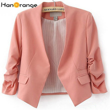 HanOrange Spring Summer Pocket Korean OL Office Lady Women Short Blazer Jacket Rose/Sky Blue/Pink S/M/L/XL/XXL(China)