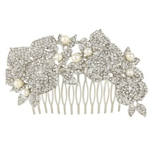 BELLA Fashion Vintage Inspired Flower Rose Hair Combs With Pearls Austrian Crystal Wedding Hair Comb Accessories For Bridesmaid
