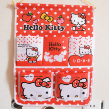 Hello Kitty hanging 5 Pocket Storage Bags Hanging Wall Debris Multilayer Fabric Pouch sundries Cosmetic organizers