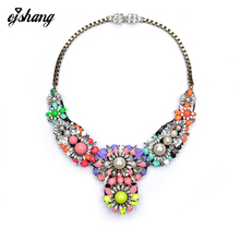 2016Fashion New Brand Necklaces & Pendants Shourouk Jewel Colorful Gem Stone Choker Statement Necklace With Pearl for Women