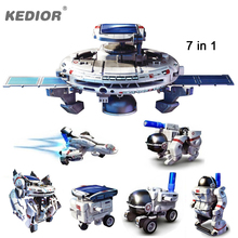 NEW 7 in 1 Solar Robot Space Fleet DIY Assembly Kit Electric Green Energy Rechargeable Science Educational Toys for Kids