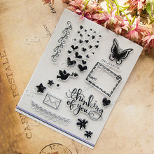butterfly transparent seal scrapbook DIY photo album chapters rubber product stamp card hand account T-0039(China)