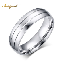 Meaeguet 6mm Wide Fashion Stainless Steel Rings Simple Design Men Wedding Rings USA Size 6-13