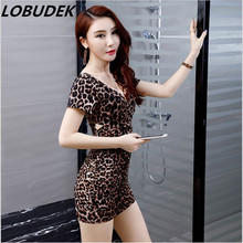Leopard deep V sexy female one piece dress Dinner party prom fashion slim dress singer nightclub bar DS performance wear clohing