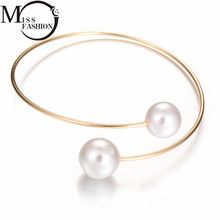 New Wedding Jewelry Gold/Silver Plated Open Cuff Bracelets Simple Double Simulated Pearl Ball Beads Adjustable Bangels Women