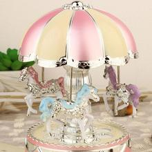 Battery Power Merry-Go-Round Music Box Night Light Bedroom Decor Birthday(China)