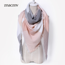 2017 New Design International Luxury Brand Winter Women Fashion Scarf Triangular Lattice Acrylic High Quality Warm Shawl Holiday(China)