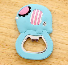 Cartoon NEW Blue Elephant , Size 6*4CM Beer Bottle Opener , Home Kitchen Opener Helper ; Stainless Steel Opener(China)