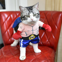 Funny Dog Cat Costumes Boxer Cosplay Suit Pet Clothing Halloween Christmas Uniform Clothes For Puppy Dogs Costume for a cat(China)