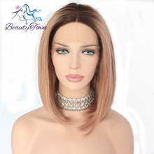 Beauty Town Hand Tied Synthetic Lace Front Wig Glueless Ombre Dark Roots To Pink Short Bob Heat Resistant Hair Wigs For Women(China)