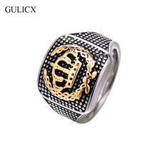GULICX Brand Size 10 New Arrival Cool Golden Crown Stainless Steel Full Finger Ring for Men Punk Party Band Jewelry BR122