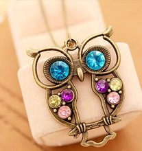 2016 Glaze Color Drops Owl Pendants Fashion Vintage Necklaces Chain Jewelry Gift