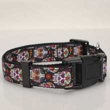 "1""25mm Tattoo Skulls Dog Collar,1 inch black Sugar Skulls Dog Collar 2 size avaiable"