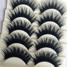 5 Pairs Black&Blue Thick Eye Lashes Extension Party Makeup Soft Crisscross Fake  False Eyelashes Cosmestic Makeup Beauty Tools
