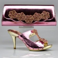 Italian Shoe and Matching Bag for African Wedding with Nice Hand Bag African Shoe and Bag Set Gold Heel Height 6 cm Shoe and Bag