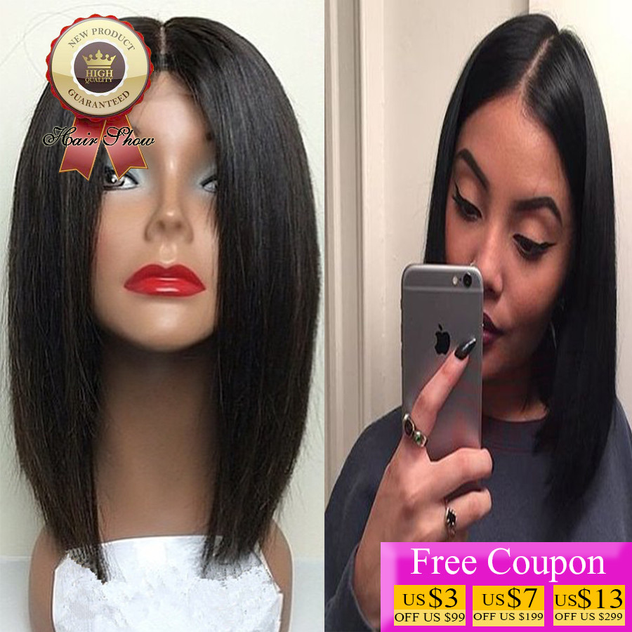 8A Grade Silky Straight Front Lace Human Hair Wig Glueless Lace Front Wigs Short Bob Straight Brazilian Virgin Hair Lace Wig<br><br>Aliexpress