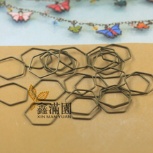 (1000 pieces/lot) antique bronze plated brass metal hexagon shape loop connector jump ring jewelry findings qy1969