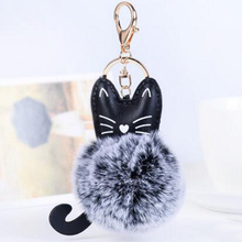 Fashion Cute PU Leather Cat pompom Fluffy Keychain Artificial Fur Ball Car Key Chain Ring Holder Jewelry Women Bag Pendant R275(China)