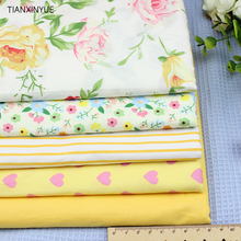 Yellow peony and Lover Cloth fabric 5pcs Cotton Fabric For Sewing patchwork stripe home Textile Window curtains Cloth 40 *50 cm