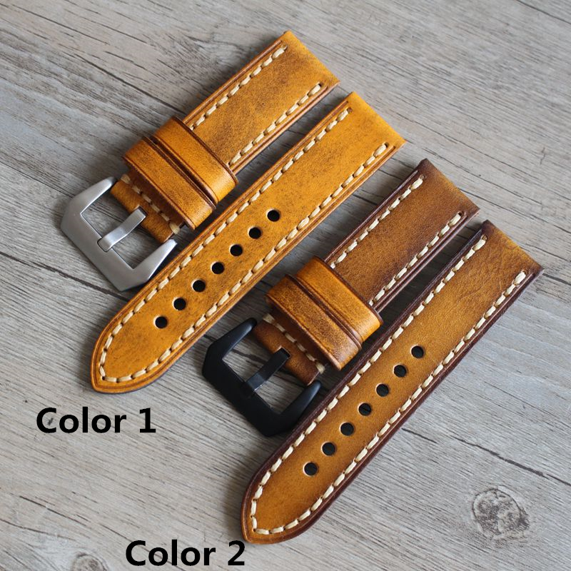 TJP Handmade Classic 20mm 22mm 24mm Brown Yellow General Leather Watch Strap Retro Watchbands For Sport Pilot Watch wristband<br>