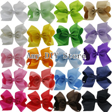 MyAmy 20Pcs 6 Inches hair bows grosgrain ribbon bow WITH alligator clip boutique bows for girls kids children teens toddlers