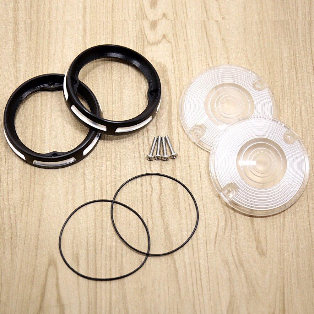Burst Dish Bezels&amp;White Turn Signal Lens For Harley Electra Glide Road King FLHR FLH/T FLTR 86-16 17<br>
