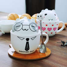 Coffee Cup White Doctor Cat Animal Milk Cup Ceramic Lovers Mug Cute Birthday gift,Christmas Gift